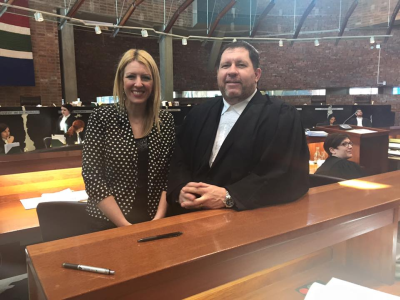 Advocates Nadene Badenhorst and Reg Willis in the Constitutional Court on Friday (August 28, 2015), requesting that FOR SA be admitted as 'Friend of the Court' in a case which has a major bearing on religious freedom and the autonomy of the Church.